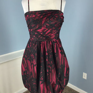 NEW BCBG S 6 Red Black Bubble Cocktail Dress